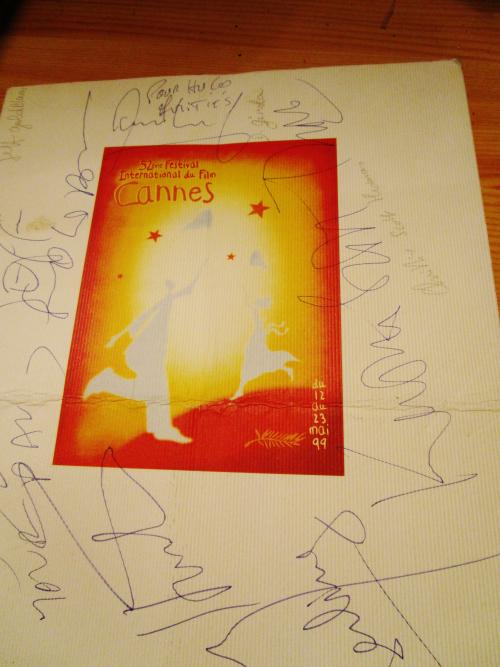 Autographes johnny et laetitia  menu diner de cloture cannes 1999