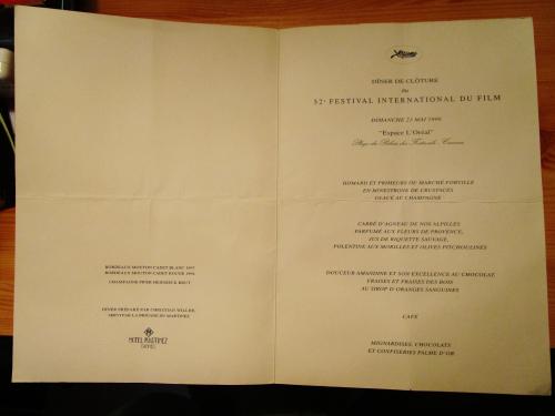 Autographe johnny et laetitia  menu cannes 1999 (3)